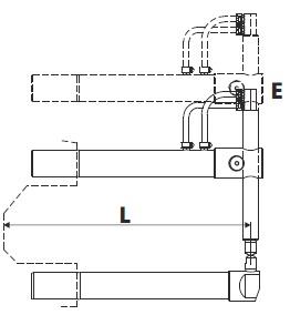 Верхнее прямое плечо L=255мм (тип E) с длинным электродом для клещей 332 - TECNA 4754