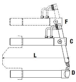 Верхнее изогнутое плечо 408мм (тип F) с длинным электродом для клещей - TECNA 4761