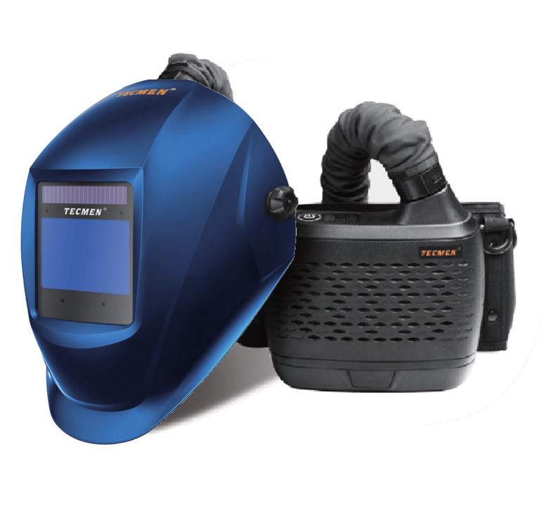 Сварочная маска с автоматическим светофильтром Tecmen ADF - 815S 5-13 TM16 Синяя с подачей воздуха PAPR