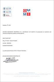 Компрессоры OMI сертификат дистрибьютрора